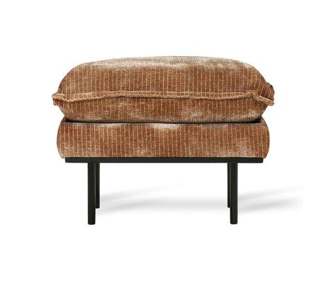 HK-living Hocker Retro Velvet Cord rostbraunes Textil 72x65x46cm