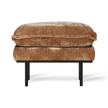 HK-living Hocker Retro Velvet Velours Côtelé textile marron rouille 72x65x46cm
