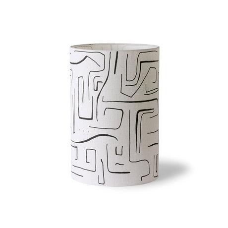 HK-living Lampeskærm Trykt cylinder sort hvid tekstil Ø24,5x37cm