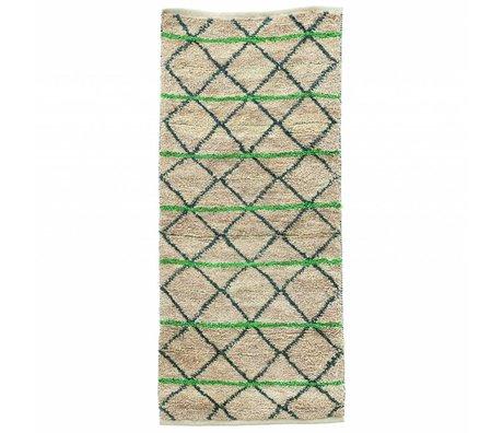 Housedoctor Teppich Green Geometry aus Jute, grün/schwarz/beige, 90x200cm