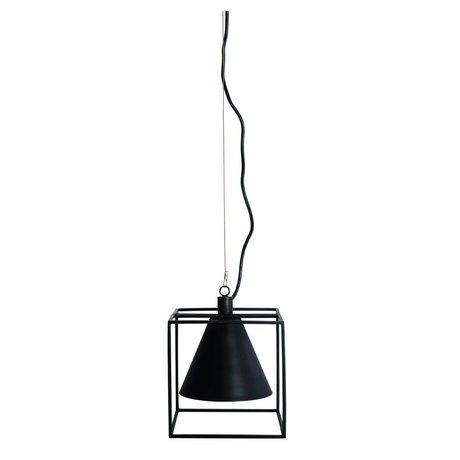 Housedoctor Hængende lampe KUBIX sort hvid metal 18x18 cm, H18 cm