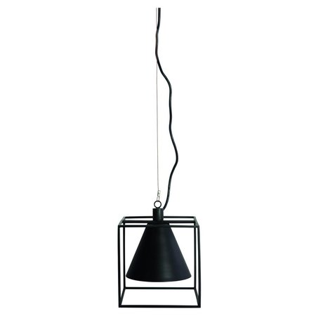 Housedoctor Lámpara colgante Kubix negro blanco 18x18 cm de metal, h18 cm