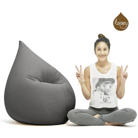 Terapy Sitzsack Elly Tropf aus Baumwolle, dunkelgrau, 100x80x50cm 230 Liter