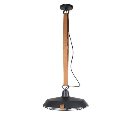 Zuiver Hanging lamp Deck 40 anthracite metallic brown leather Ø40x18cm