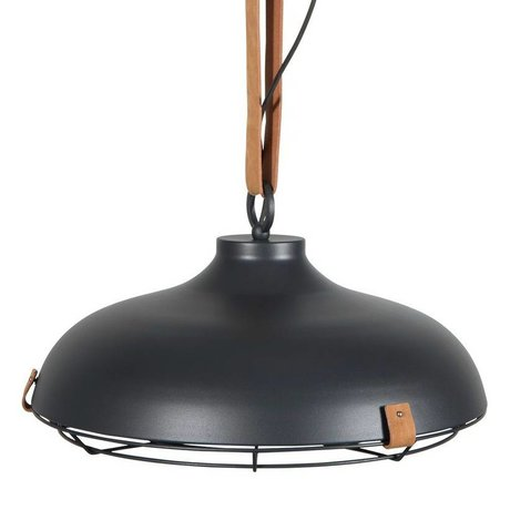 Zuiver Hanging lamp Deck 51 anthracite metallic brown leather Ø51x22cm