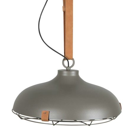 Zuiver Deck 51 gray metal pendant light brown leather Ø51x22cm