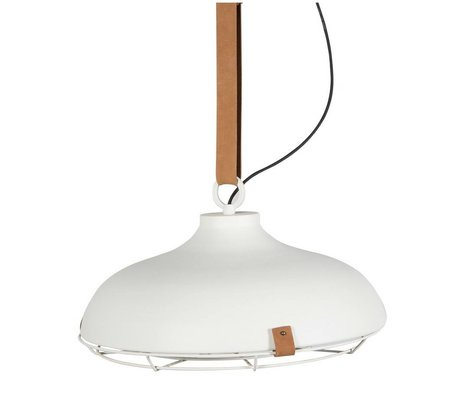 Zuiver Deck 51 white metal pendant light brown leather Ø51x22cm