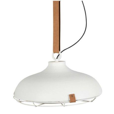 Zuiver Pont 51 métal blanc pendentif lumière cuir marron Ø51x22cm