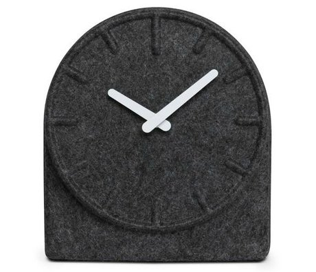 LEFF amsterdam Felt clock Two gray with white hands 19,5x8x21cm