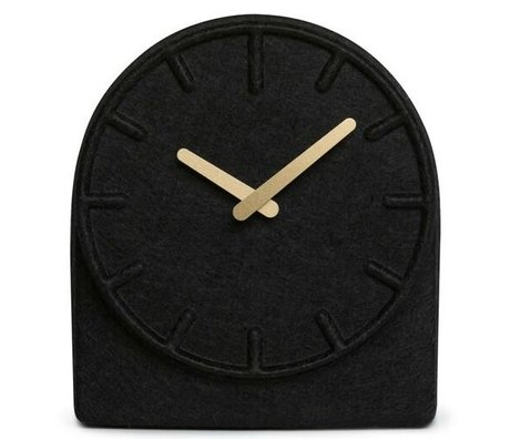 LEFF amsterdam Feltro Due orologio nero con le mani in ottone 19,5x8x21cm
