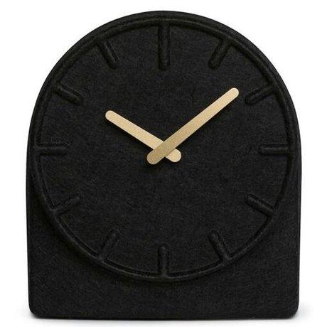 LEFF amsterdam Felt Dos reloj negro con latón manos 19,5x8x21cm