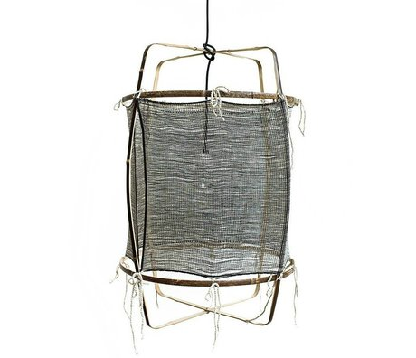 Ay Illuminate Hängelampe mit Bambus, Seide, Kaschmir Cover, grau, Ø48.5x72,5cm