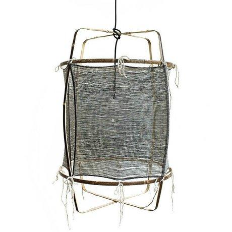 Ay Illuminate Lámpara colgante con el bambú de seda gris cubierta de cachemira ø48.5x72,5cm