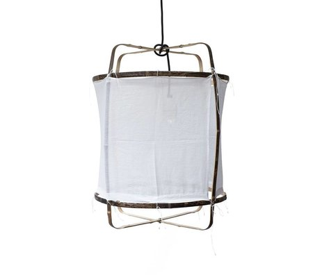 Ay Illuminate Bamboo pendant with white cotton cover ø42x57cm
