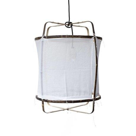 Ay Illuminate Colgante de bambú con tapa ø42x57cm algodón blanco