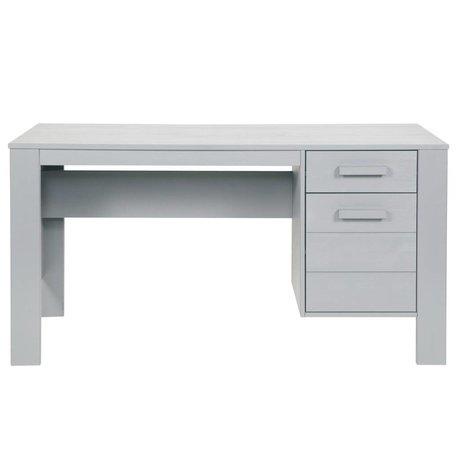 LEF collections Schreibtisch 'Dennis' aus gebürsteter Kiefer, betongrau, 140x59x74cm