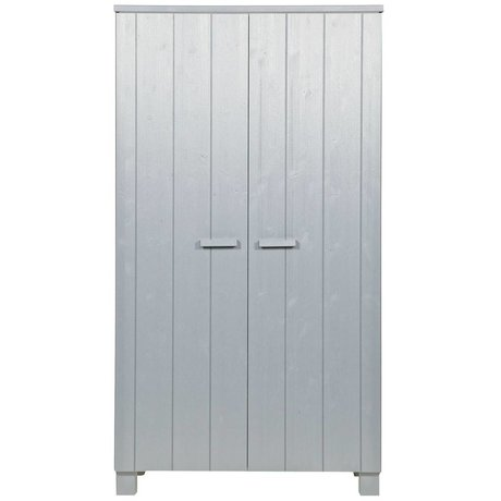 LEF collections Wardrobe Dennis concrete gray brushed pine 202x111x55cm