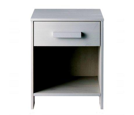 LEF collections Nachttisch Dennis aus gebürsteter Kiefer, betongrau, 40x34x52cm