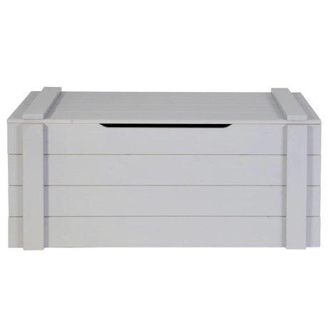 LEF collections Aufbewahrungsbox 'Dennis' aus gebürsteter Kiefer, betongrau, 42x90x42cm