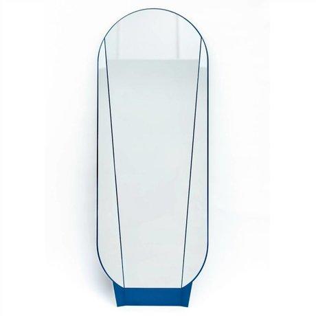 Spiegel Split Mirror aus Glas/Metall, blau, 164x61x5cm