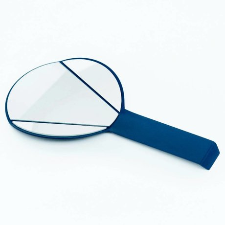Ontwerpduo Handspiegel Split Mirror aus Glas/Metall, blau, 28x15x1cm