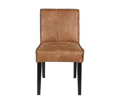BePureHome Eetkamerstoel Rodeo cognac brun læder sort træ 83x45x61cm