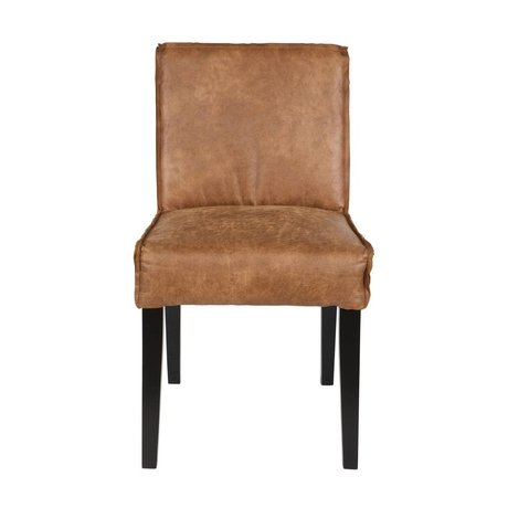 BePureHome Eetkamerstoel Rodeo cognac brown leather black wood 83x45x61cm