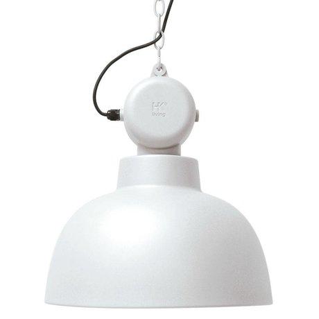 HK-living Colgando de la fábrica de la lámpara blanca mate de metal grande Ø50cm