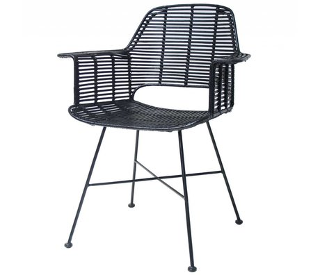 HK-living Chair Rotan black with metal frame 67x55x83cm