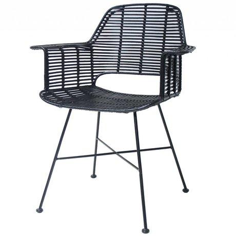 HK-living Stuhl Rotan schwarz mit Metallrahmen 67x55x83cm