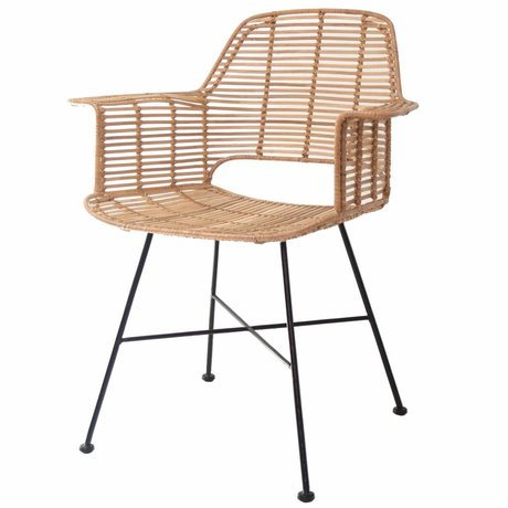 HK-living Chair Rotan natural with black metal frame 67x55x83cm