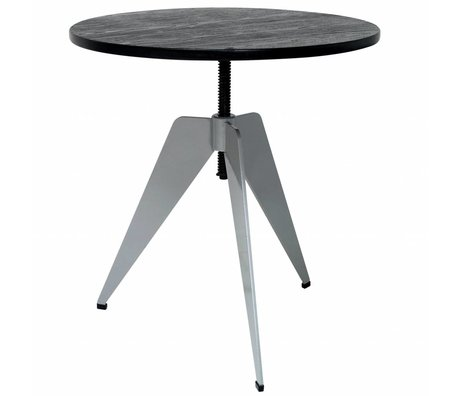 HK-living Industriel sidebord med grå metalramme og sort bambus blad 60x60x50-67cm