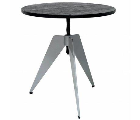 HK-living Side Industriale Tavolo con struttura in metallo grigio e bambù nero foglia 60x60x50-67cm
