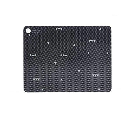 OYOY Napperons Grey Line Gris Set silicone de deux 45x34x0,15cm