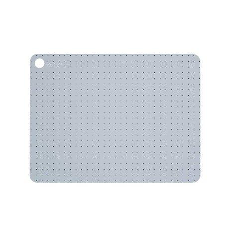 OYOY Platzdecken Pale grau blu Silikon Set bestend aus zwei 45x34x0,15cm