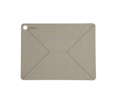 OYOY Platzdecken Clay braun schwarz Silikon Set bestehend aus zwei 45x34x0,15cm