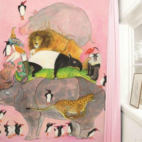Kek Amsterdam Jumping pingvin tapet Multi-farvet papir fleece 243,5x280cm