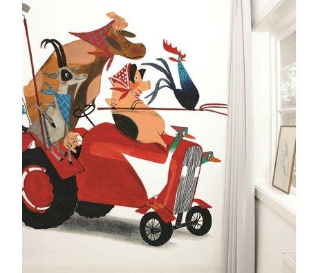 Kek Amsterdam Tapete Traktor Race Mehrfarbig Papiervlies 389,6x280cm