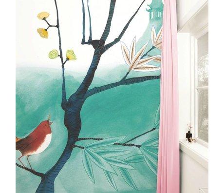 Kek Amsterdam Tapete Singing Bird Mehrfarbig Papiervlies 292,2x280cm