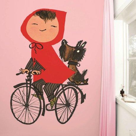 Kek Amsterdam Tapete Riding my Bike pink Mehrfarbig Papiervlies 243,5x280cm