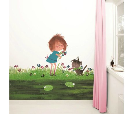 Kek Amsterdam Wallpaper Picking Flowers Multi-farvet papir fleece 292,2x280cm