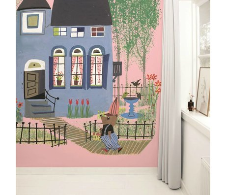 Kek Amsterdam Wallpaper Orso con blu casa rosa Multi-color carta pile 243,5x280cm