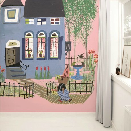 Kek Amsterdam Wallpaper Bear with blue house pink Multi-colored paper fleece 243,5x280cm