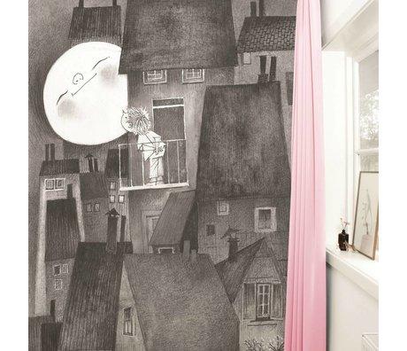 Kek Amsterdam Tapete Moonlight grau schwarz weiß Papiervlies 194,8x280cm