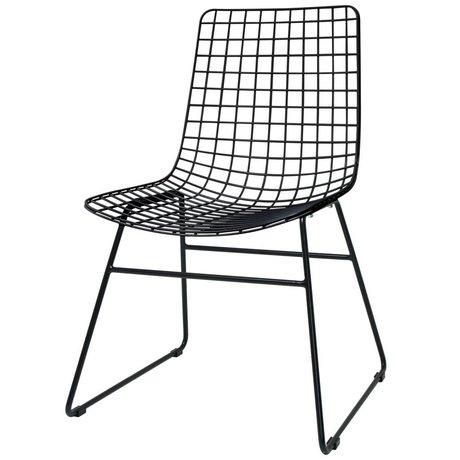 HK-living Esszimmerstuhl Wire Dining schwarz Metall 47x54x86cm
