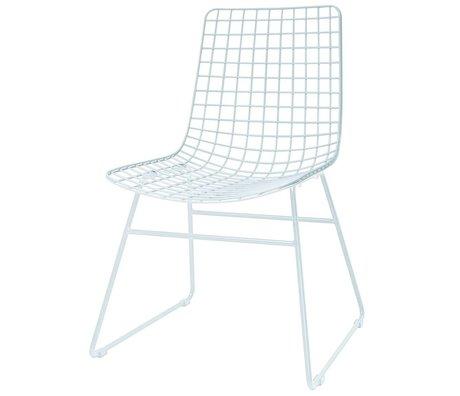 HK-living Salle à manger chaise salle fil 47x54x86cm de métal blanc