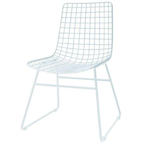 HK-living Cena de la silla de comedor 47x54x86cm alambre de metal blanco
