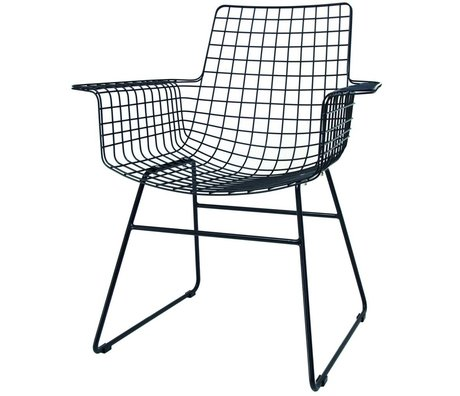 HK-living Stuhl Wire mit Armlehnen schwarz Metall 72x56x86cm