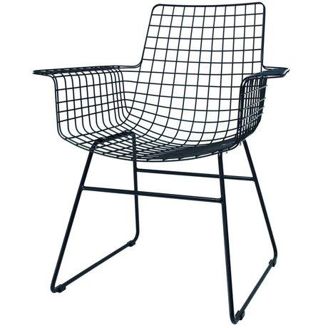 HK-living Wire stol med armlæn black metal 72x56x86cm