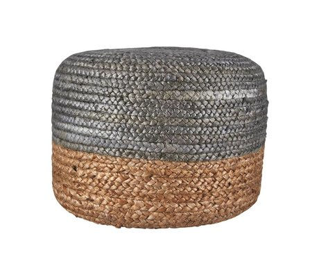 Housedoctor Pouf Hemp Jute silber naturfarben braun 45xh35cm